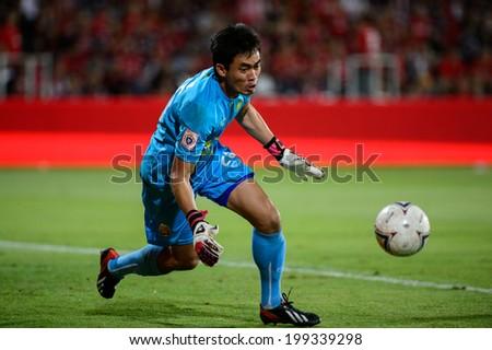 NONTHABURI THAI-JUN14:Narong Wongthongkam of M-150 Saraburi FC.in action during a Thai Premier League between SCG Muangthong Utd and Osotspa M-150 Saraburi F.C.at SCG Stadium on June 14,2014,Thailand - stock photo