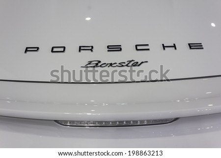 NONTHABURI, THAILAND - APRIL 2:Logos of  Porsche car is on display at the 35th Bangkok International Motor Show 2014 on  April 2, 2014 in Nonthaburi, Thailand.