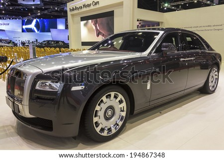 NONTHABURI, THAILAND - APRIL 2:The Rolls Royce Ghost Standard Wheelbase car is on display at the 35th Bangkok International Motor Show 2014 on  April 2, 2014 in Nonthaburi, Thailand.