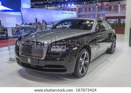 NONTHABURI, THAILAND - APRIL 2:The Rolls-Royce Wraith is on display at the 35th Bangkok International Motor Show 2014 on  April 2, 2014 in Nonthaburi, Thailand.