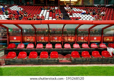 NONTHABURI THAILAND-APRIL 06:View of SCG Stadium before the match Thai Premier League Muangthong utd. and Bangkok Glass F.C. at SCG Stadium on April 06,2014 in Thailand