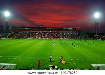 NONTHABURI THAILAND-APRIL17:Views of SCG Stadium  during Thai Premier League between  MuangThong United.and Buriram United at SCG Stadium on April 17, 2013,Thailand