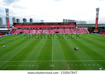 NONTHABURI,THAILAND-AUGUST 14, 2013: The SCG stadium home of Muangthong United football club certified standard of Asian Football Confederation at SCG stadium on August 14, 2013 in Nonthaburi,Thailand