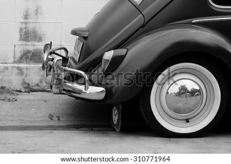 NONTHABURI, THAILAND - 28 August 2015: Volkswagen turtle vintage style. With its unique shape - stock photo