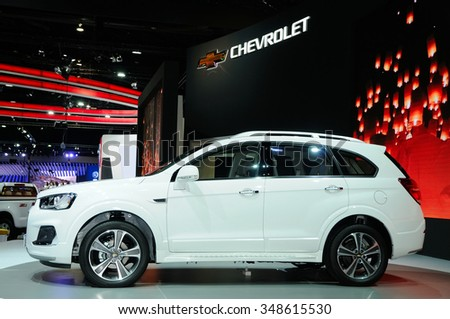 NONTHABURI, THAILAND - December 04: The Chevrolet Captiva is on display at Thailand International Motor Expo 2015 on December 04, 2015 in Nonthaburi, Thailand.