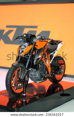 NONTHABURI, THAILAND - December 08: The KTM 1290 Super Duke R on display during the Thailand International Motor Expo 2014 on December 08, 2014 in Nonthaburi, Thailand.