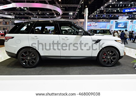 NONTHABURI, THAILAND - DECEMBER 1: The Landrover RangeRover Sport is on display at the 32nd Thailand International Motor Expo 2015 on December 1, 2015 in Nonthaburi, Thailand.