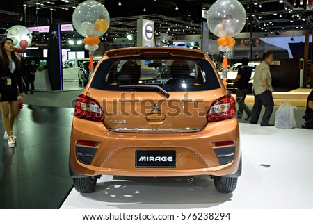 NONTHABURI, THAILAND - DECEMBER 1: The Mitsubishi Mirage is on display at the 32nd Thailand International Motor Expo 2015 on December 1, 2015 in Nonthaburi, Thailand.
