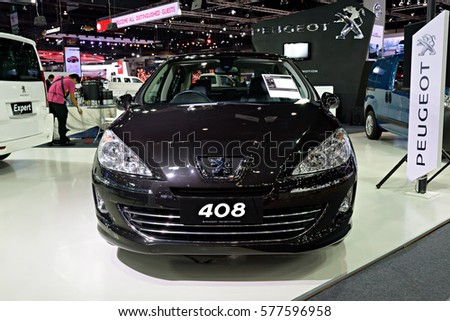 NONTHABURI, THAILAND - DECEMBER 1: The Peugeot 408 is on display at the 32nd Thailand International Motor Expo 2015 on December 1, 2015 in Nonthaburi, Thailand.