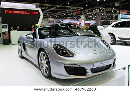 NONTHABURI, THAILAND - DECEMBER 8: The Porsche Boxster S is on display at the 32nd Thailand International Motor Expo 2015 on December 8, 2015 in Nonthaburi, Thailand.