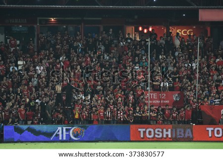 NONTHABURI-THAILAND FEB2:Unidentified fans of Muangthong Utd supporters during  AFC Champions League2016 between Muangthong Utd - Johor Darul Ta'zim at SCG Stadium on February2,2016 in Thailand