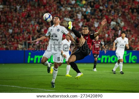 NONTHABURI THAILAND-FEBRUARY 21:	Cleiton Silva  (R)of Muangthong utd. in action during Thai Premier League between Muangthong Utd.and Buriram United at SCG Stadium on Feb 21, 2015,Thailand - stock photo