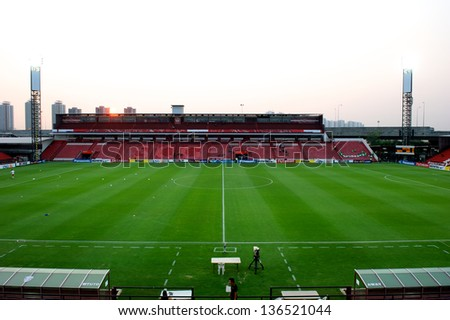 NONTHABURI,THAILAND-FEBRUARY 26:Panoramic views SCG Stadium during before match the AFC Champions League between Muangthong Utd. and Jeonbuk at SCG Stadium on Feb 26,2013 in,Thailand.