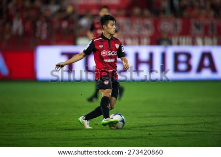 NONTHABURI THAILAND-FEBRUARY 21:	Sarach Yooyen of Muangthong utd. in action during Thai Premier League between Muangthong Utd.and Buriram United at SCG Stadium on Feb 21, 2015,Thailand - stock photo