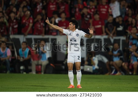 NONTHABURI THAILAND-FEBRUARY 21:	Theerathon Bunmathan.  of Buriram United in action during Thai Premier League between Muangthong Utd.and Buriram United at SCG Stadium on Feb 21, 2015,Thailand - stock photo