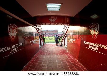 NONTHABURI THAILAND-FEBRUARY 02:Tunnel to the field of  SCG Stadium before Thai Premier League between Muangthong Utd.and Chainat FC at SCG Stadium on Feb 02, 2014,Thailand - stock photo
