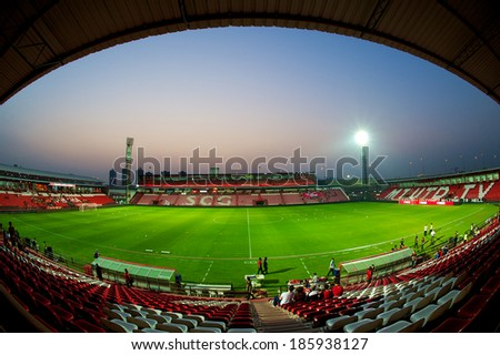 NONTHABURI THAILAND-FEBRUARY 02:Unidentified panoramic view of  SCG Stadium before Thai Premier League between Muangthong Utd.and Chainat FC at SCG Stadium on Feb 02, 2014,Thailand