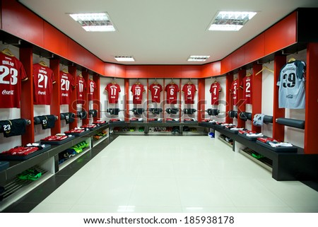 NONTHABURI THAILAND-FEBRUARY 02:View athletic dressing rooms team of Muangthong Utd during  Thai Premier League between Muangthong Utd.and Chainat FC at SCG Stadium on Feb 02, 2014,Thailand - stock photo