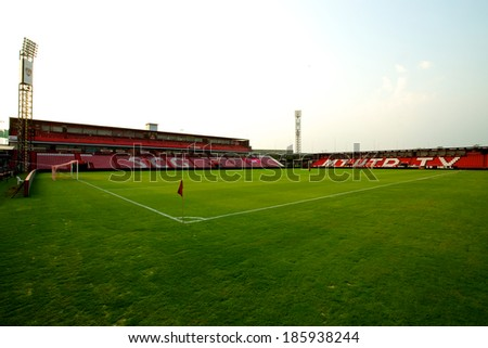NONTHABURI THAILAND-FEBRUARY 02:View of  SCG Stadium before Thai Premier League between Muangthong Utd.and Chainat FC at SCG Stadium on Feb 02, 2014,Thailand