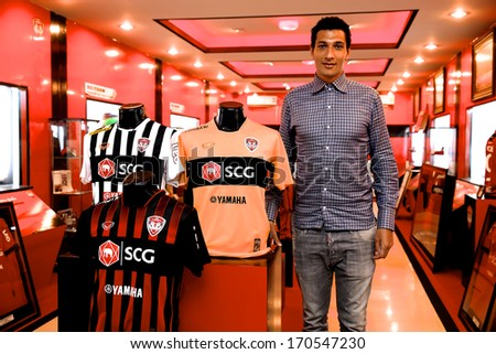 NONTHABURI-THAILAND JANUARY 8:Jay Bothroyd footballer from England pose for a photo during before press conference as a  new SCG Muangthong United player at SCG Stadium on January 8, 2014 in ,Thailand - stock photo