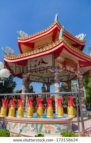 NONTHABURI,  THAILAND - January 12 : Traditional Chinese style temple in Nonthaburi,Thailand. January 12 ,2014.