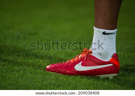 NONTHABURI THAILAND-Jul30:Details of Soccer shoes during the LFP World Challenge 2014 between SCG Muangthong UTD. and Almeria at SCG Stadium on July30,2014,Thailand