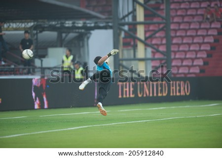 NONTHABURI THAILAND-Jul02:Goalkeeper Kawin Thamsatchanan of SCG MUTU. during the Toyota League Cup between SCG Muangthong Utd and Buriram United at SCG Stadium on July02,2014,Thailand
