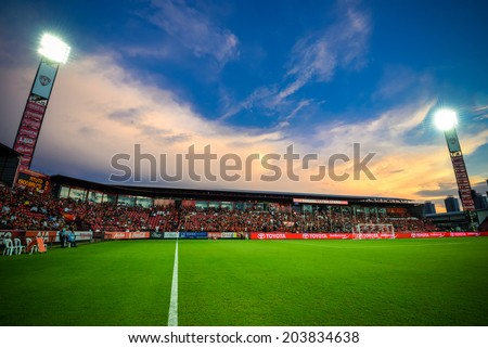 NONTHABURI THAILAND-Jul02:Panoramic view of SCG Stadium during the Toyota League Cup between SCG Muangthong Utd and Buriram United at SCG Stadium on July02,2014,Thailand