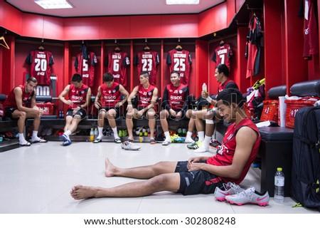 NONTHABURI THAILAND-JULY 25 :Teerasil Dangda (R)in action during athletic dressing rooms before Thai Premier League between Muangthong Utd.and Saraburi FC at SCG Stadium on July 25, 2015,Thailand - stock photo