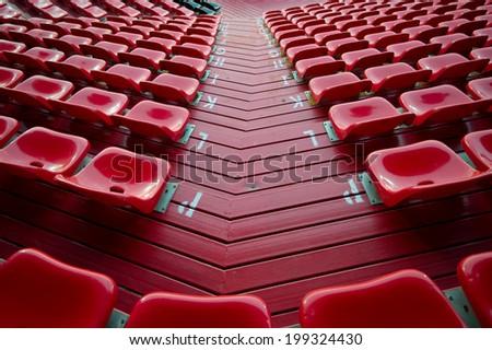 NONTHABURI THAILAND-JUN14:Chairs on the soccer of SCG Stadium during the Thai Premier League between SCG Muangthong Utd and Osotspa M-150 Saraburi F.C. at SCG Stadium on June 14,2014,Thailand - stock photo