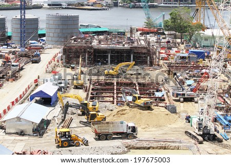NONTHABURI -THAILAND - June 08 : Construction of EGAT's North Bangkok gas combine cycle power plant 800 MW on June 08, 2014 in Nonthaburi, Thailand