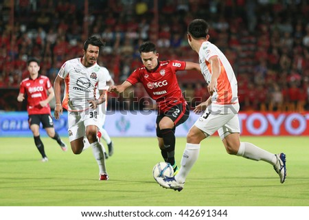 NONTHABURI,THAILAND-June 25 : Peerapat Notchaiya player of SCG Muangthong United in action during the game SCG Muangthong United and Nakhonratchasima FC at SCG Stadium on June 25, 2016 in,Thailand. - stock photo