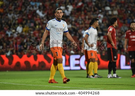 NONTHABURI-THAILAND MAR9:Ariel Rodríguez of Bangkok Glass FC in action during Thai Premier League 2016 Muangthong Utd and Bangkok Glass FC at SCG Stadium on March 9,2016 in Nonthaburi,Thailand - stock photo