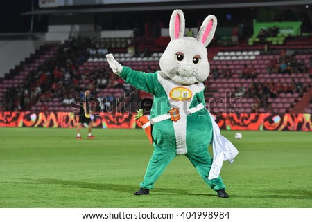 NONTHABURI-THAILAND MAR9:Mascot of Bangkok Glass FC in action during Thai Premier League 2016 Muangthong Utd and Bangkok Glass FC at SCG Stadium on March 9,2016 in Nonthaburi,Thailand - stock photo