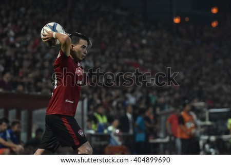 NONTHABURI-THAILAND MAR9:Tristan Do  of Muangthong Utd in action during Thai Premier League 2016 Muangthong Utd and Bangkok Glass FC at SCG Stadium on March 9,2016 in Nonthaburi,Thailand