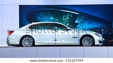 NONTHABURI, THAILAND - MARCH 26: BMW 740 IL showed on tage in 34th Bangkok International Motor Show on March 26, 2013 in Nonthaburi, Thailand. - stock photo
