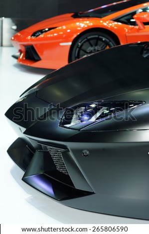 NONTHABURI, THAILAND - March 25: Details of the Lamborghini Aventador on display during The 36th Bangkok International Motor Show on March 25, 2015 in Nonthaburi, Thailand.