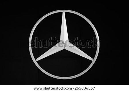 NONTHABURI, THAILAND - March 25: Logo of Mercedes-Benz on display during The 36th Bangkok International Motor Show on March 25, 2015 in Nonthaburi, Thailand.