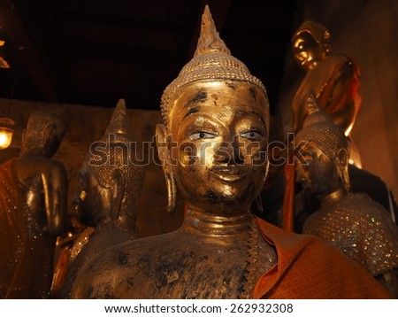 NONTHABURI ,THAILAND - MARCH 15 : masterpiece of traditional Thai style molded art old about Buddhist temple at Wat PraSart on MARCH 15, 2015 in Nonthaburi, Thailand