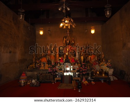 NONTHABURI ,THAILAND - MARCH 15 : masterpiece of traditional Thai style molded art old about Buddhist temple at Wat PraSart on MARCH 15, 2015 in Nonthaburi, Thailand - stock photo