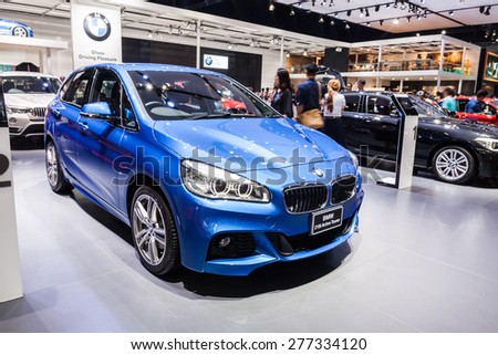Nonthaburi,Thailand - March 26th, 2015: BMW 218i Active Tourer on display,showed in Thailand the 36th Bangkok International Motor Show on 26 March 2015 - stock photo