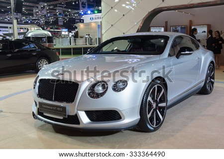NONTHABURI, THAILAND - MARCH 24: The Bentley Continental GT V8 S is on display at the 36th Bangkok International Motor Show 2015 on March 24, 2015 in Nonthaburi, Thailand.