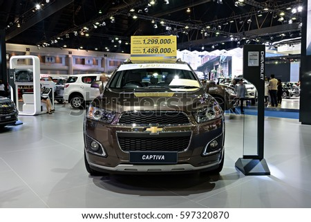 NONTHABURI, THAILAND - MARCH 28: The Chevrolet Captiva is on display the 37th Bangkok International Motor Show 2016  on March 28, 2016 in Nonthaburi, Thailand.