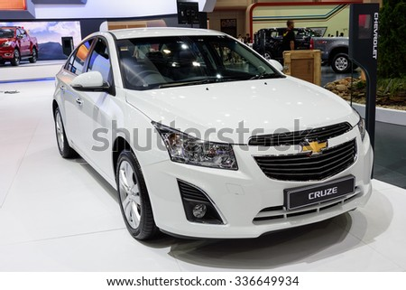 NONTHABURI, THAILAND - MARCH 24: The Chevrolet Cruze is on display at the 36th Bangkok International Motor Show 2015 on March 24, 2015 in Nonthaburi, Thailand. - stock photo
