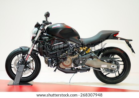 NONTHABURI, THAILAND - March 27: The Ducati Monster Motorbike is on display at The 36th Bangkok International Motor Show on March 27, 2015 in Nonthaburi, Thailand.