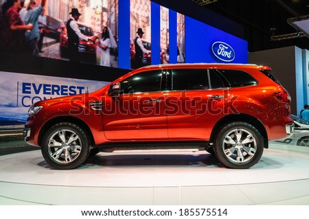 NONTHABURI, THAILAND - MARCH 31: The Ford Everest Concept is on display at the 35th Bangkok International Motor Show 2014 on March 31, 2014 in Nonthaburi, Thailand.