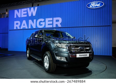 NONTHABURI, THAILAND - March 30: The Ford Ranger is on display at The 36th Bangkok International Motor Show on March 30, 2015 in Nonthaburi, Thailand. - stock photo