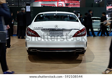 NONTHABURI, THAILAND - MARCH 22: The Mercedes Benz CLS250 CDI is on display at the 37th Bangkok International Motor Show 2016  on March 22, 2016 in Nonthaburi, Thailand.