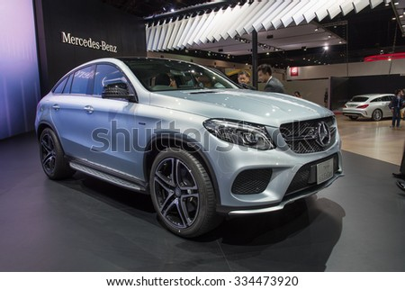 NONTHABURI, THAILAND - MARCH 24: The Mercedes Benz New GLE-Class is on display at the 36th Bangkok International Motor Show 2015 on March 24, 2015 in Nonthaburi, Thailand.