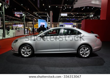 NONTHABURI, THAILAND - MARCH 30: The MG6 is on display at the 36th Bangkok International Motor Show 2015 on March 30, 2015 in Nonthaburi, Thailand.